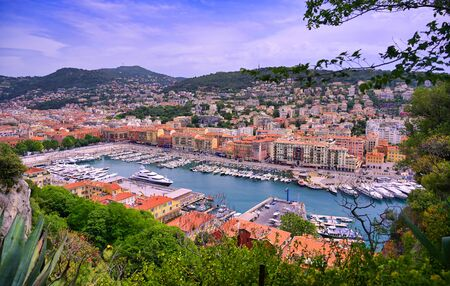An aerial view of the Port of Nice on the Mediterranean Sea at Nice, France along the French Riviera.