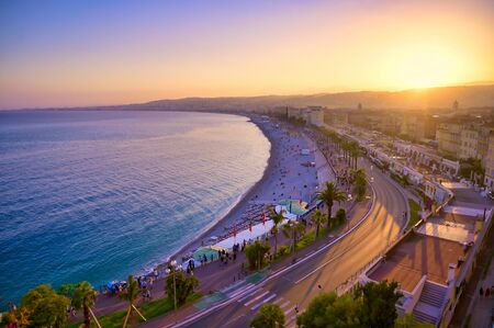 The Promenade des Anglais on the Mediterranean Sea at Nice, France along the French Riviera.
