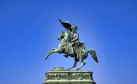 Vienna, Austria - May 18, 2019 - Equestrian statue of Archduke Charles in front of Hofburg Palace in Vienna, Austria. Publikacyjne