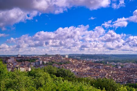 An aerial view of Lyon, France on a sunny day from Fourviere Hill.