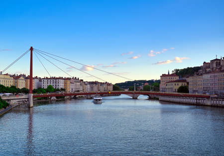 Lyon, France and the architecture along the Saone River. 免版税图像 - 156647342