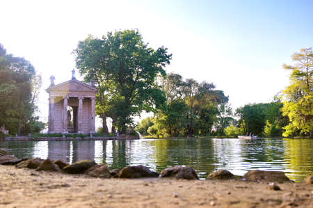 The ruins of Temple of Aesculapius located in the gardens of the Villa Borghese in Rome, Italy.