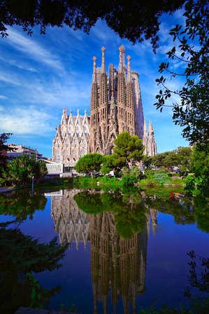 Barcelona, Spain - June 15, 2019: Cathedral of La Sagrada Familia. Designed by architect Antonio Gaudi and has been under construction since 1882.