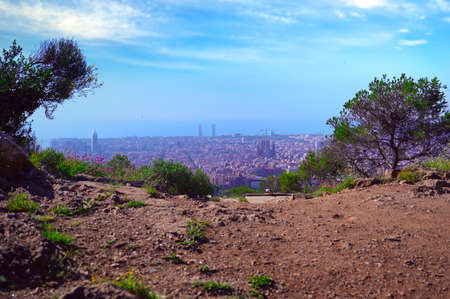 An aerial view of Barcelona, Spain on a clear day.