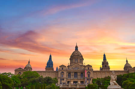 June 15, 2019 - Barcelona, Spain - The Palau Nacional, or National Palace, located on Mount Montjuic located in Barcelona, Spain. Redactioneel