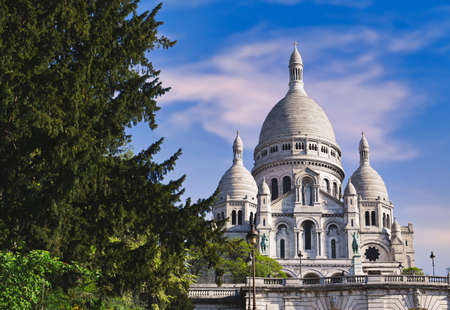 The Basilica of the Sacred Heart of Paris, commonly known as Sacré-Cœur Basilica, located in the Montmartre district of Paris, France.