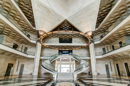 Museum of Islamic Art, Doha (Qatar). July 2017. View of the main hall stairs. The Museum is Doha's most prized architectural icon, designed by the world famous architect I.M. PEI
