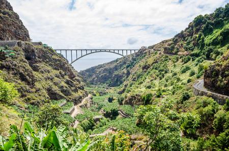 Los Tilos bridge in La Palma, Canary islands, Spain. Arch bridge front view