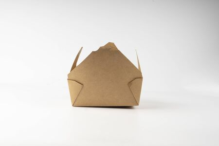 open cardboard box for takeout away in white background