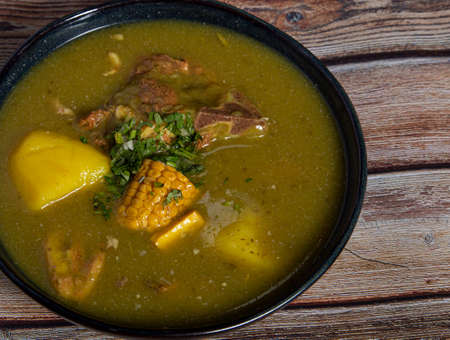 Traditional Colombian soup from the Valle del Cauca region called sancocho