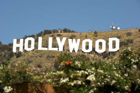hollywood movie: Hollywood, California - April 17, 2009: The Hollywood sign, built in 1923, is one of the main landmarks of Los Angeles Editorial