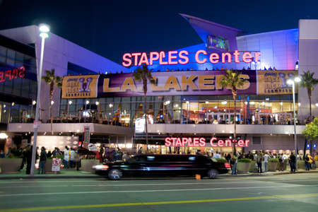 Los Angeles, California - October 26, 2010: Opening game of the 2010-2011 NBA basketball season in Los Angeles. Entrance to the Staples Center, with Los Angeles Laker receiving the Houston Rockets.