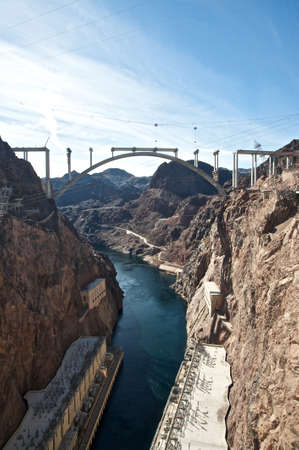 hoover: Hoover Dam and the Hoover Dam Bypass Bridge during construction