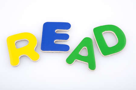 Read made with multicolored magnetic letters
