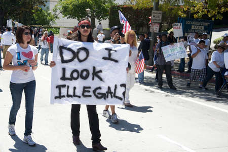illegal alien: Los Angeles, USA, May 5, 2010: Immigration march in Downtown Los Angeles  Editorial