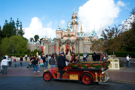 Anaheim, California, USA, December 13, 2009 � Truck bringing visitors to the castle at Disneyland