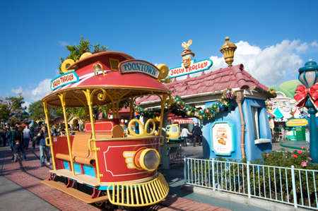 Anaheim, California, USA, December 13, 2009 � Cartoonish train in Toontown one of the sections dedicated to little children at Disneyland