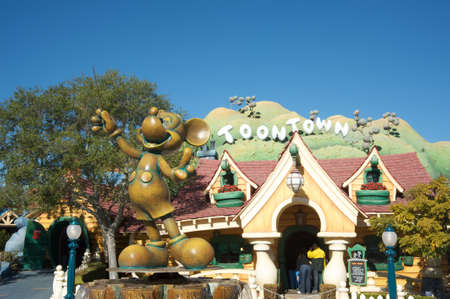 Anaheim, California, USA, February 7, 2010 – Statue of Mickey mouse at Disneylan's Toontown during a sunny day