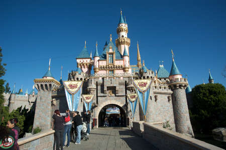 disneyland: Anaheim, California, USA, February 7, 2010 � Entrance to Disneylan�s castle during a sunny day of winter.  Editorial