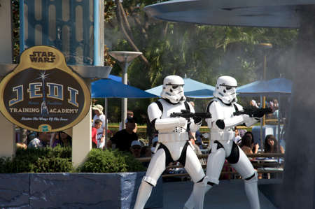 star: Anaheim, California, USA, October 3, 2010 – Star Wars soldiers at the Jedi Training Academy in Disneyland Editorial