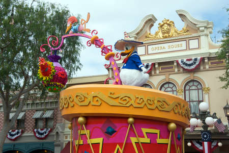 donald: Anaheim, California, USA, June 19, 2011 � Donald Duck wearing a Mexican hat durin a parade at Disneyland Editorial