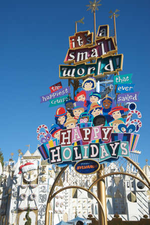 It's a Small World attraction at Disneyland wishing Happy Holidays