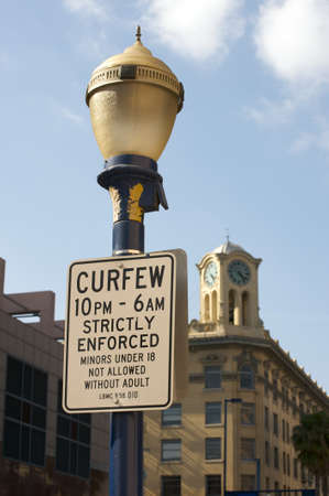 curfew: Curfew sign in Downtown Long Beach