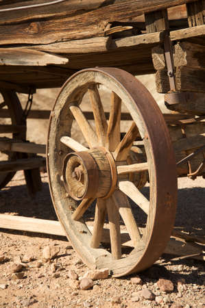 Old carriage wooden wheel