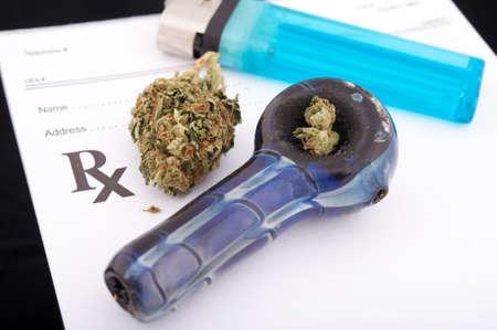 gas lighter: Medical marijuana prescription Stock Photo