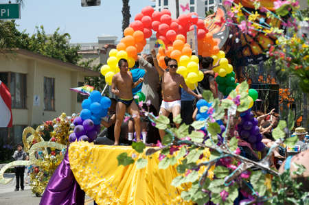 Float with dancers during the Long Beach Lesbian and Gay Pride Parade 2012