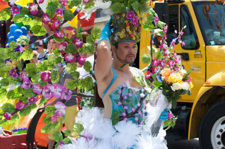 Man with floral costume during the Long Beach Lesbian and Gay Pride Parade 2012 Stock Photo - 13775773