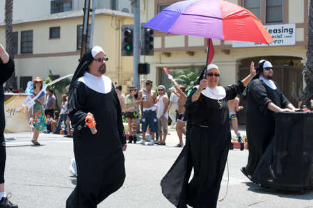 People wearing nun costumes during the Long Beach Lesbian and Gay Pride Parade 2012 Editorial