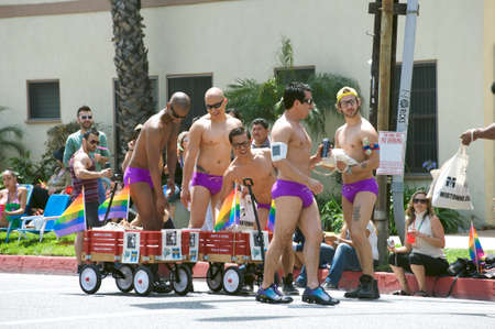 Men having fun during the Long Beach Lesbian and Gay Pride Parade 2012