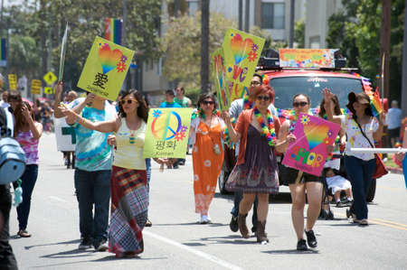 Peace and love activists during the Long Beach Lesbian and Gay Pride Parade 2012 Editorial