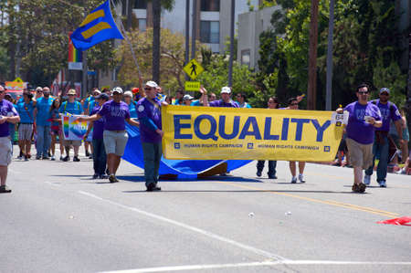 Activists holding an Equality banner during the Long Beach Lesbian and Gay Pride Parade 2012 Editorial
