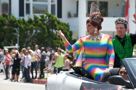 Queen and king on a car during the Long Beach Lesbian and Gay Pride Parade 2012