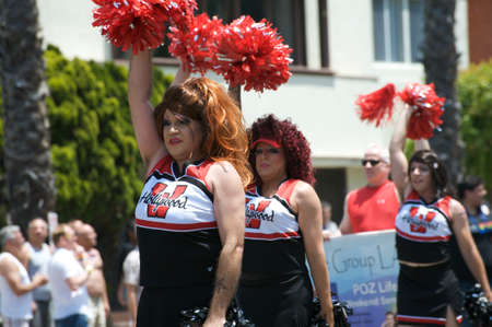 sexual orientation: Men cheerleading during the Long Beach Lesbian and Gay Pride Parade 2012 Editorial
