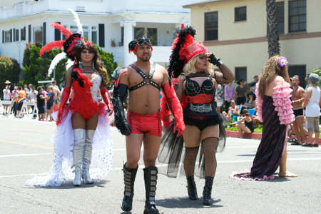 Activists wearing costumes during the Long Beach Lesbian and Gay Pride Parade 2012 Stock Photo - 13789580