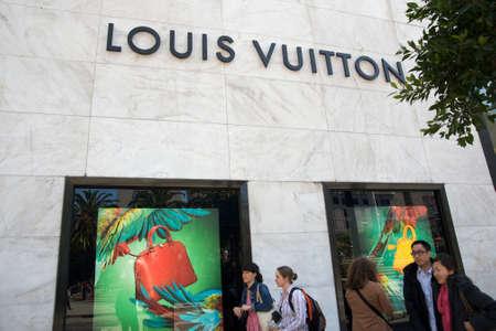 designer bag: Louis Vuitton store windows in San Francisco