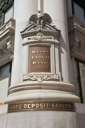 wells: Wells Fargo Bank sign in Downtown San Francisco