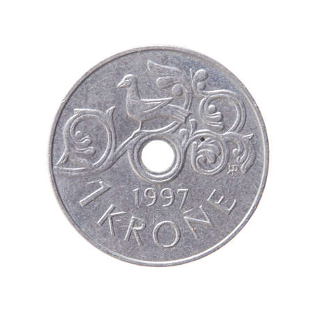 Norwegian krone, 1997, International currecny isolated on a white background.
