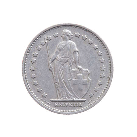 Swiss franc currency, International currecny isolated on a white background.
