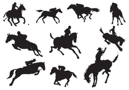 Silhouettes de chevaux et chevaliers-vecteur