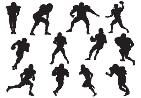 voetbal silhouet: Silhouet van het voetbal spelers (verdediger-quarterback) Stock Illustratie