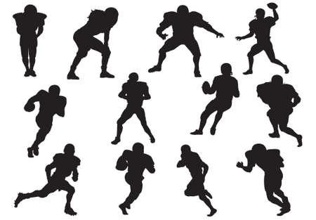 uniforme de futbol: Silueta de jugadores de f�tbol (defensor de quarterback)  Vectores