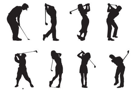 bounds: silhouettes of players of golf
