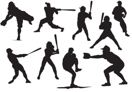 Baseball Silhouettes and Reflections