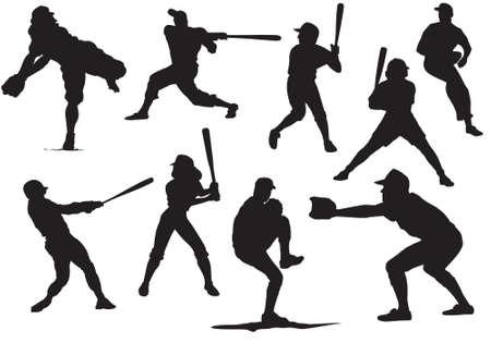 catcher baseball: Baseball Silhouettes et r�flexions Illustration