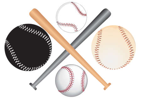hitter: spheres and batons of baseball - symbol, vector