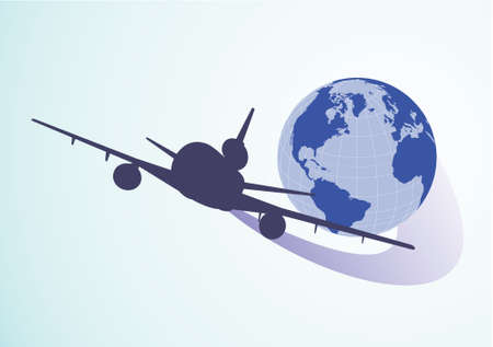 airline pilot: Air around the globe. Vector illustration